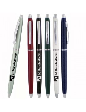 Retractable Ballpoint Pen with Silver Trim
