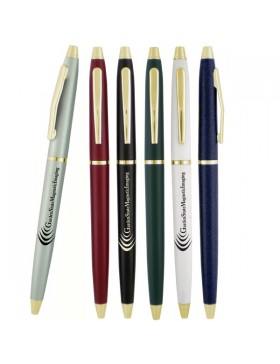 Retractable Ballpoint Pen with Gold Trim